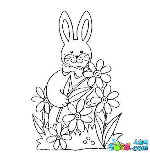 小兔子爱花朵_动物简笔画-e学堂