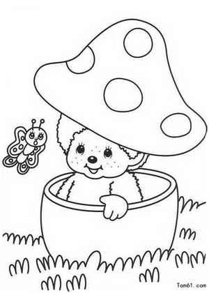 可爱的蘑菇姑娘_植物简笔画-e学堂