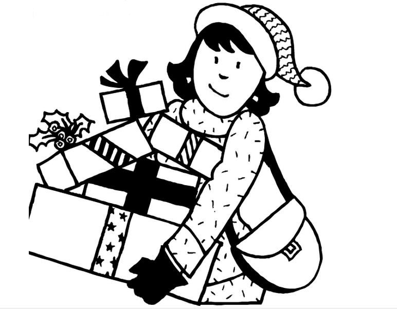 新年的礼物_人物简笔画-e学堂图片