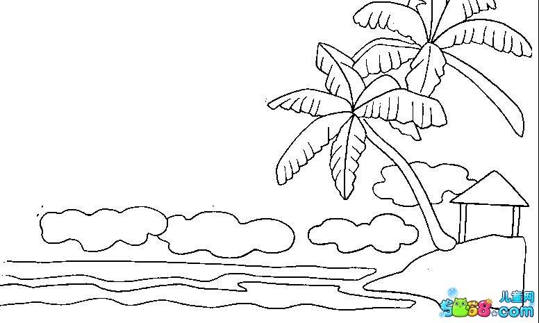 海边 简笔画蜡笔