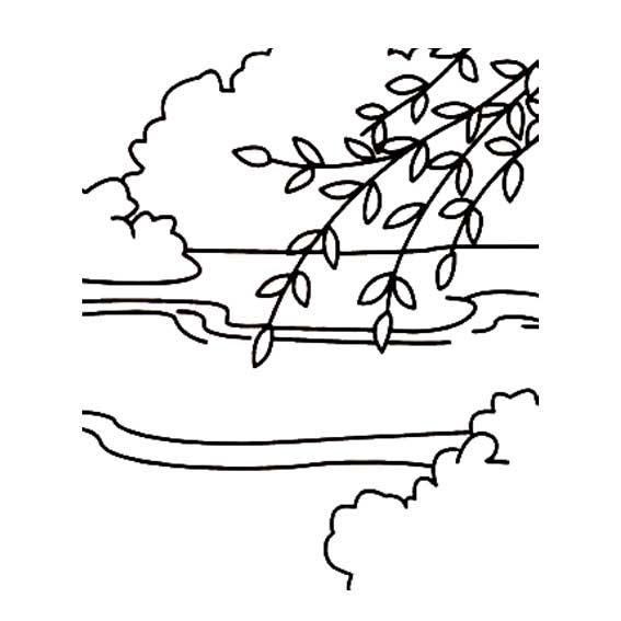 柳树简笔画 卡通画