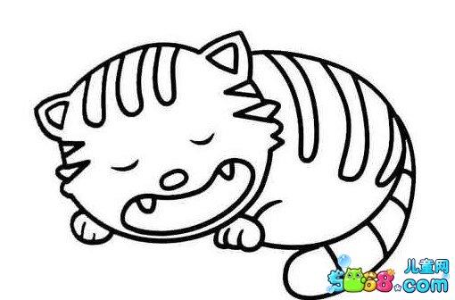 睡觉的懒猫_动物简笔画-e学堂