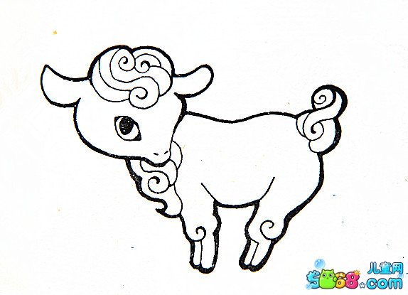 可爱的小山羊_动物简笔画-e学堂