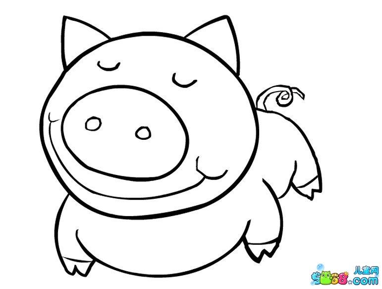 猪边框简笔画手绘