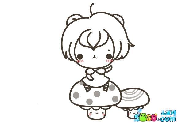 蘑菇上的小女孩_人物简笔画-e学堂