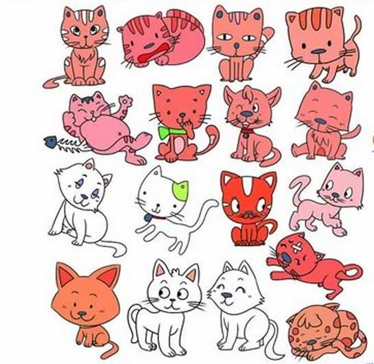 各种可爱的小萌猫_动物简笔画-e学堂