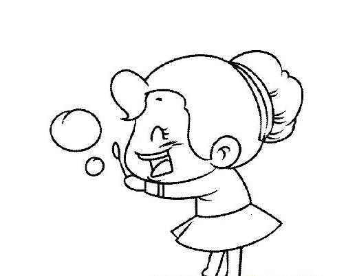 吹泡泡的小女孩儿_人物简笔画-e学堂