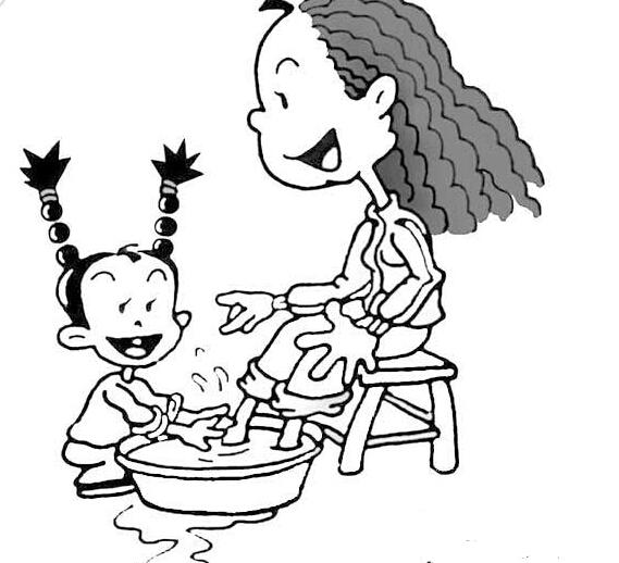 我给妈妈洗脚_人物简笔画-e学堂