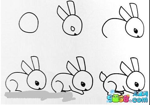 爬行的小兔子_动物简笔画-e学堂