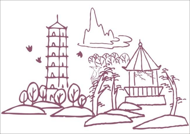 公园卡通简笔画