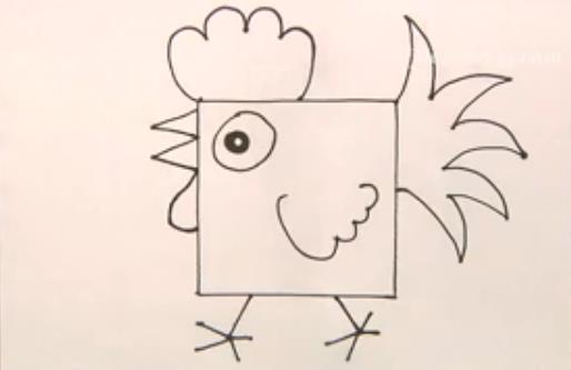 正方形简笔画之公鸡_动物简笔画-e学堂