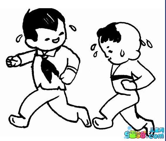 一起跑步锻炼身体_人物简笔画-e学堂