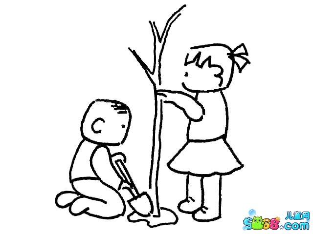 我们一起植树_植物简笔画-e学堂图片