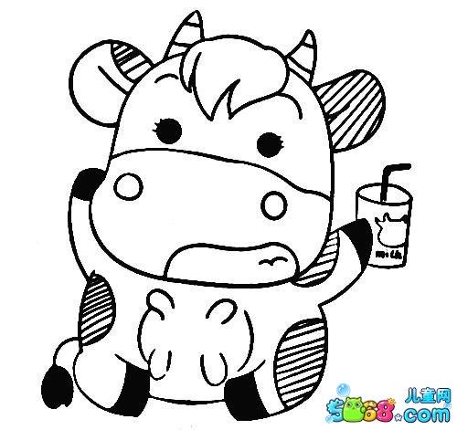 喝牛奶的小奶牛_动物简笔画-e学堂