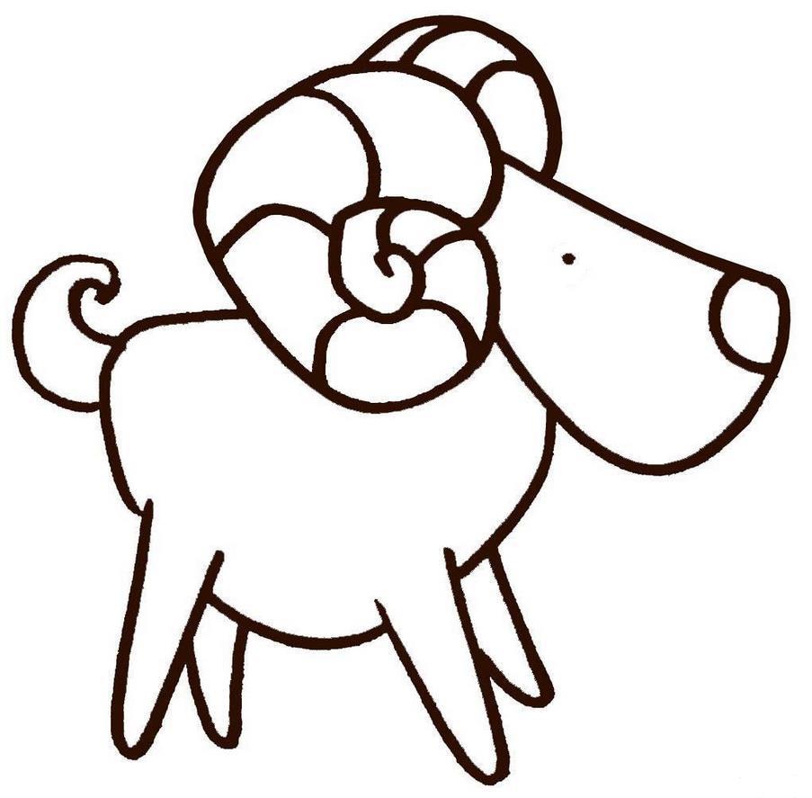 弯角的盘羊_动物简笔画-e学堂