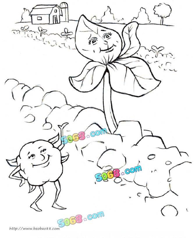 可爱的棉花_植物简笔画-e学堂
