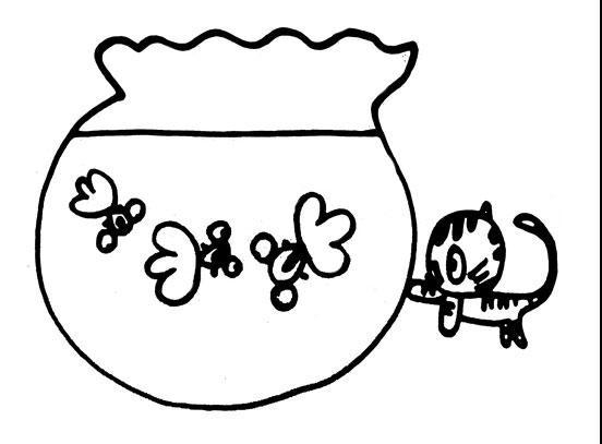 小猫咪戏金鱼_动物简笔画-e学堂