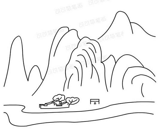 山水的简笔画手绘