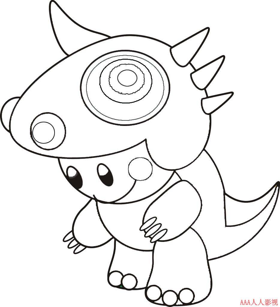 可爱的小恐龙_动漫简笔画-e学堂