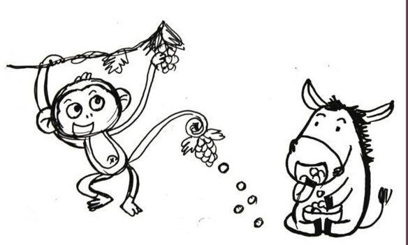 小猴子和河马_动物简笔画-e学堂