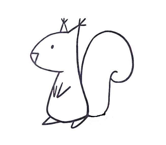 灵活的松鼠_动物简笔画-e学堂