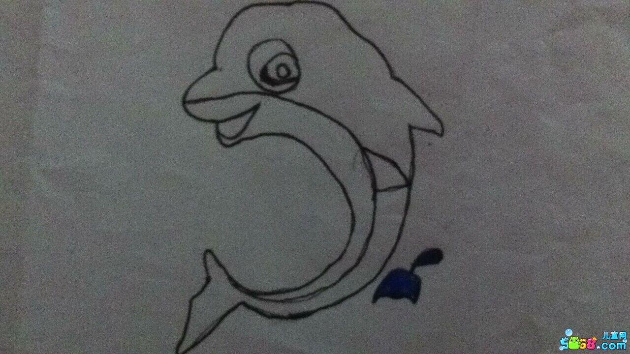 跳跃的小海豚_动物简笔画-e学堂