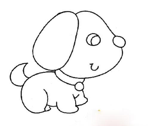 可爱的卡通小狗_动物简笔画-e学堂