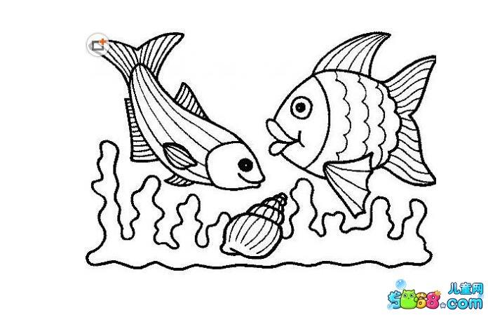 小鱼图案大全简笔画