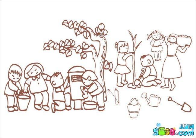 班级一起去植树_植物简笔画-e学堂图片