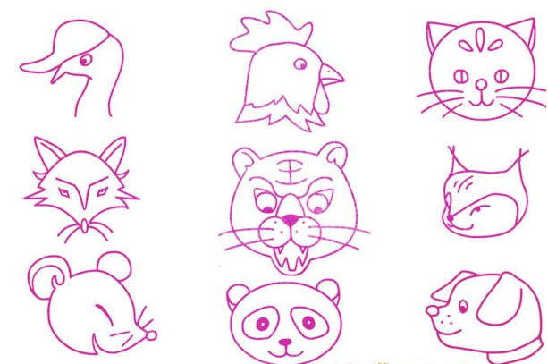 一群小动物的简笔画