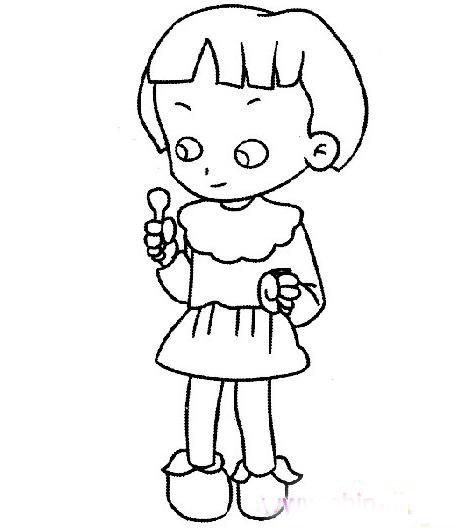 吃棒棒糖的小女孩_人物简笔画-e学堂