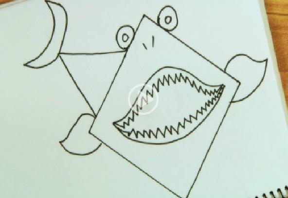 正方形简笔画之鲨鱼_动物简笔画-e学堂