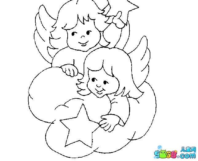 两个小天使_人物简笔画-e学堂图片