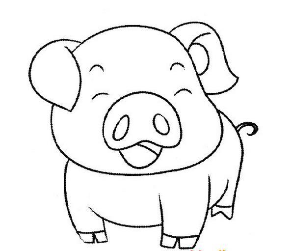 快乐的可爱小猪_动物简笔画-e学堂