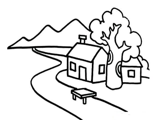 阳台小景手绘线稿
