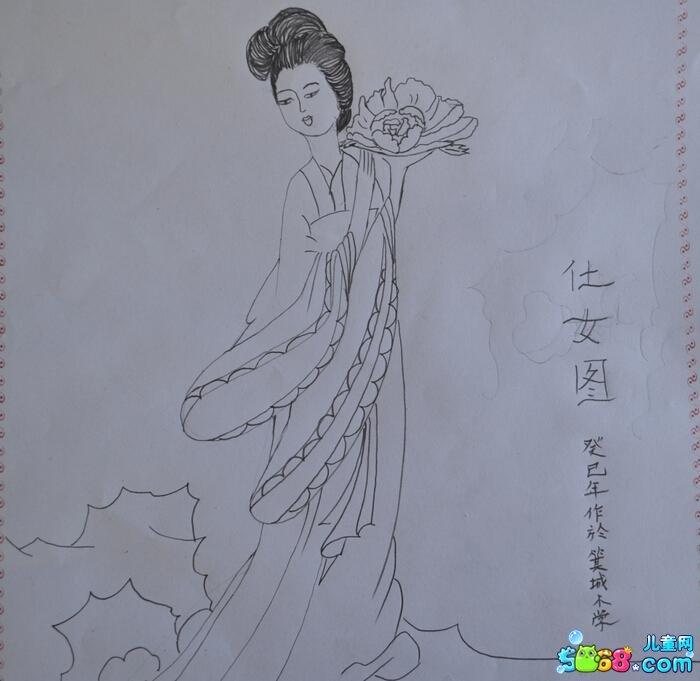 古代仕女图_人物简笔画-e学堂