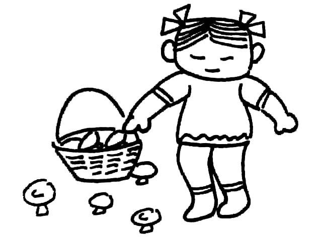 采蘑菇的小女孩_人物简笔画-e学堂