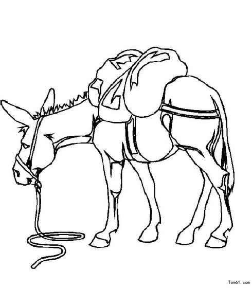驮着粮食的毛驴_动物简笔画-e学堂