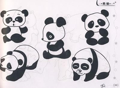 熊猫攀爬简笔画