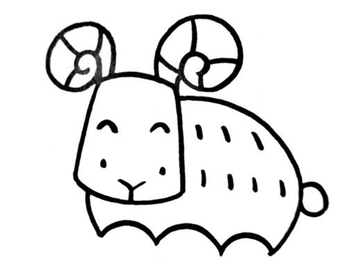 山羊简笔画 可爱