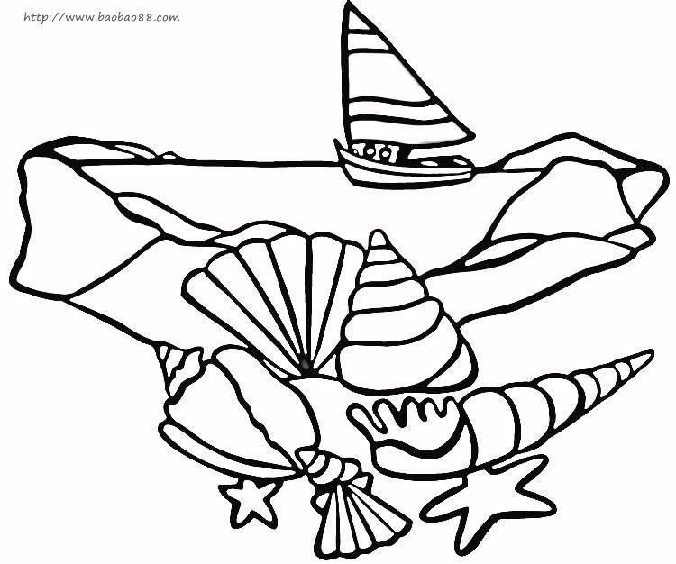 儿童海滩上的东西简笔画