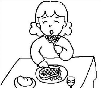 妈妈幸福的在吃饭_人物简笔画-e学堂