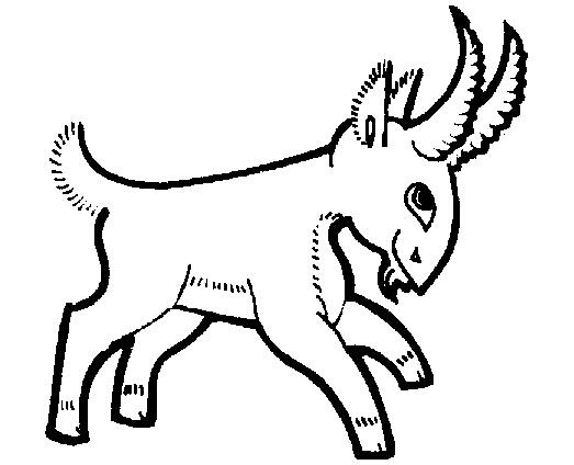 山羊剪纸矢量图
