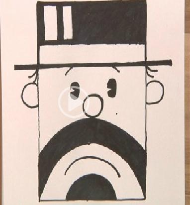 正方形简笔画之老绅士