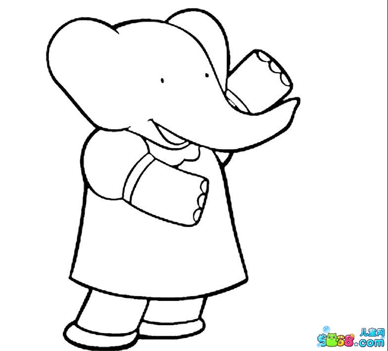 挥手的大象_动物简笔画-e学堂