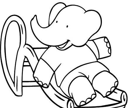 玩滑梯的大象_动物简笔画-e学堂