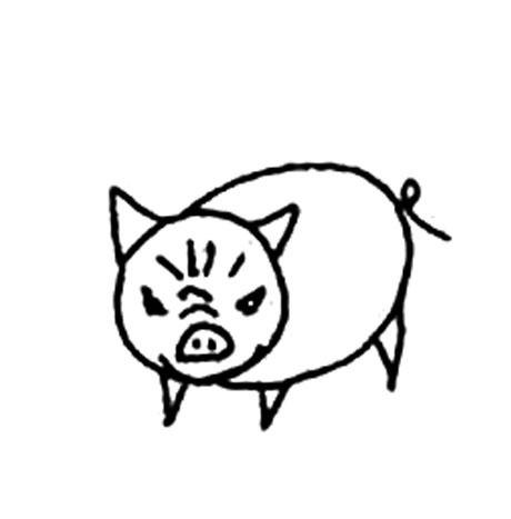 生气的小猪_动物简笔画-e学堂
