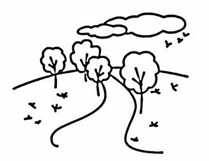 美丽的林间小路_风景简笔画-e学堂