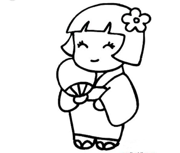 穿和服的小姑娘_人物简笔画-e学堂