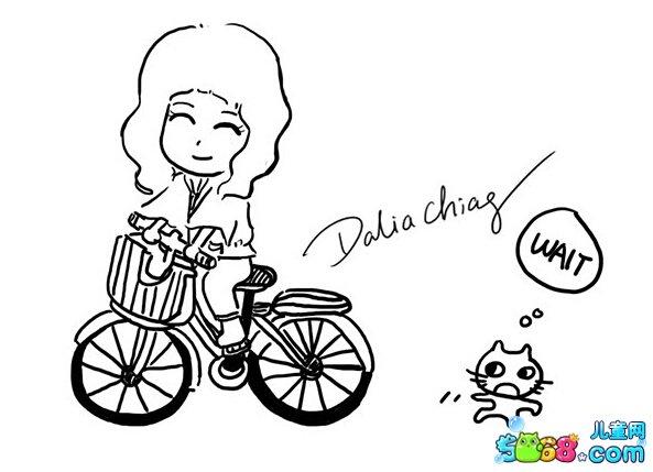 骑自行车的小女孩